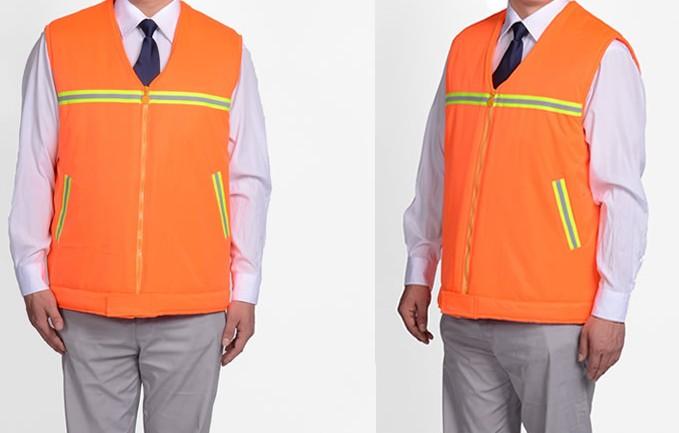 桔黄反光条棉马甲 环卫工人保暖棉服