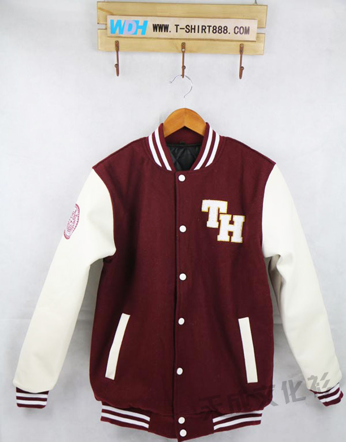 清华大学皮袖棒球服--枣红