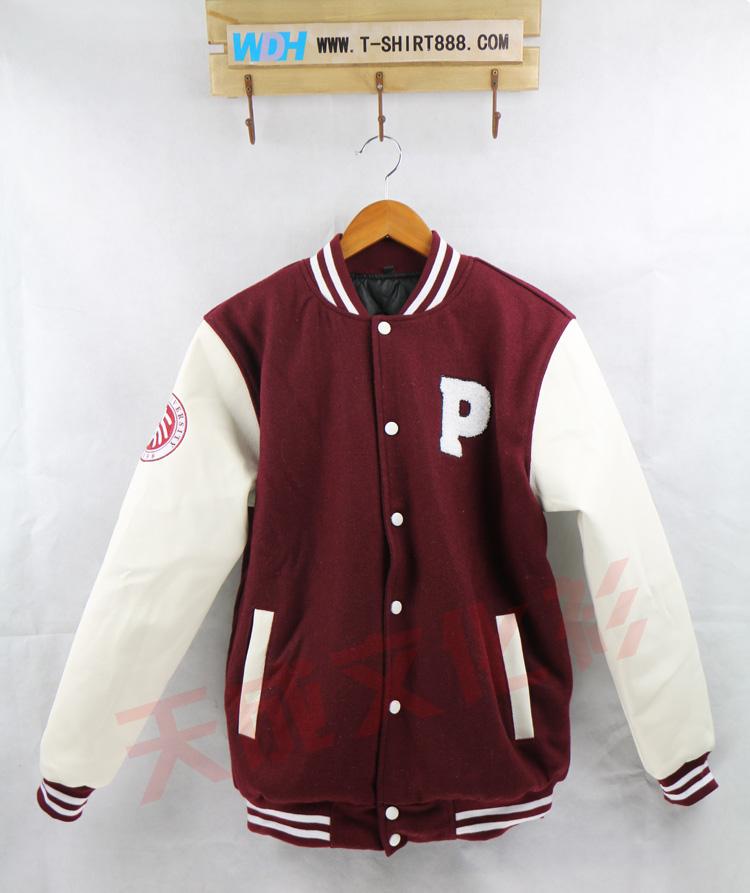 北京大学皮袖棒球服-枣红