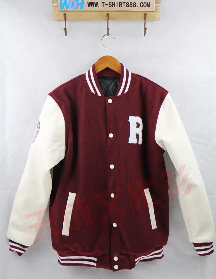 中国人民大学皮袖棒球服--枣红